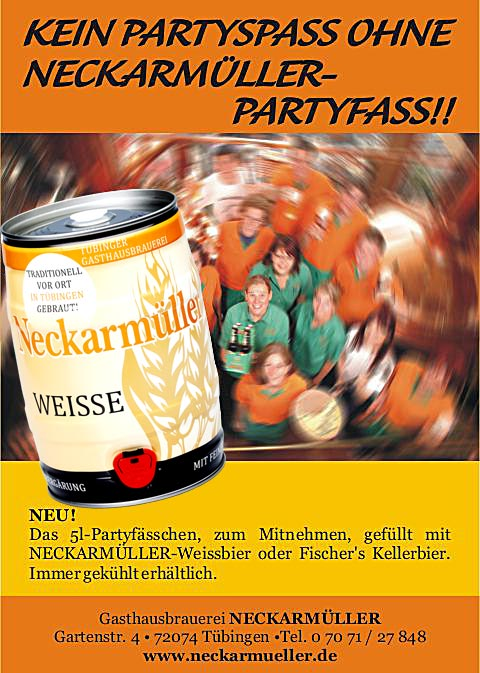 Stocherkahn Tübingen. Neckarmueller Party barrel